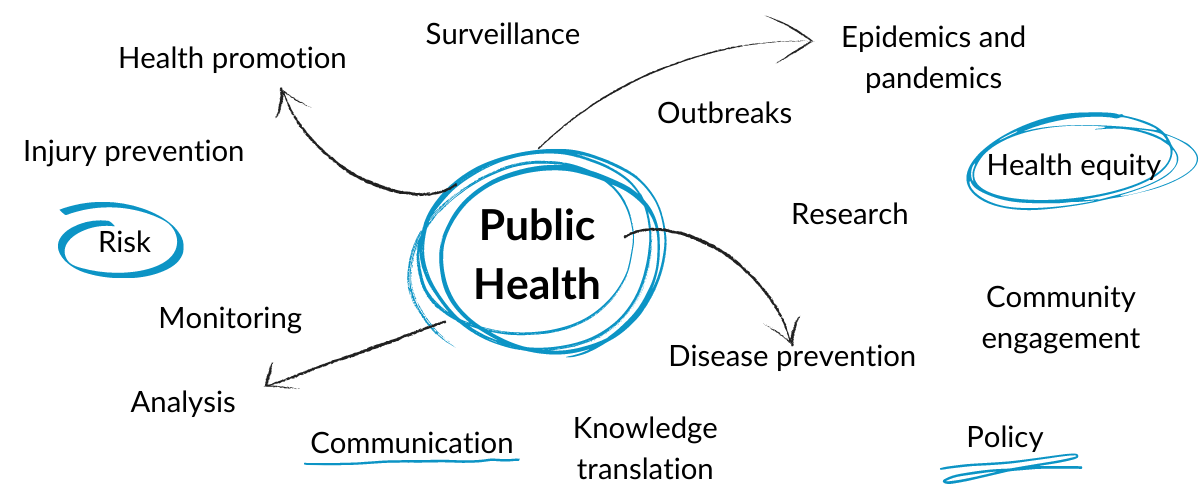 """Public Health"" written in the middle of the image, in a circle, with other public health terms like ""surveillance"", ""knowledge translation"", ""disease prevention"", ""outbreaks"", ""policy"", ""monitoring"" written around it with arrows pointing from public health to those other terms."