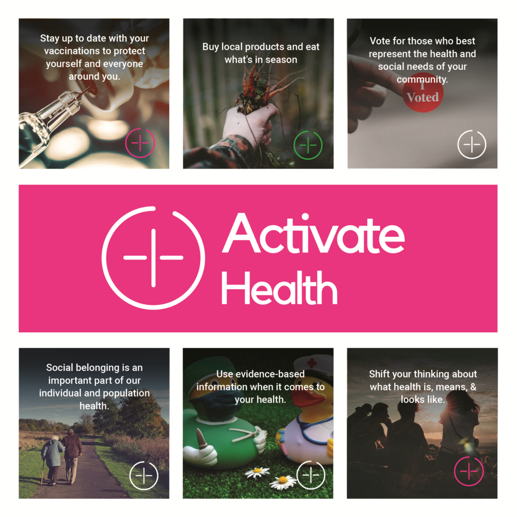 "Six examples of the campaign images, with a pink rectangle and ""Activate Health"" logo in the middle."