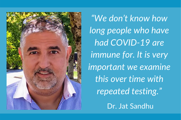"""We don't know how long people who have had COVID-19 are immune for. It is very important that we examine this over time with repeated testing"". Dr Jat Sandhu."